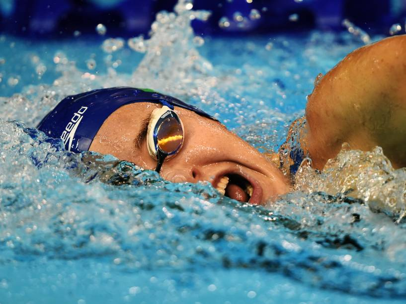 A brasileira Manuella Lyrio durante a final dos 400m livre
