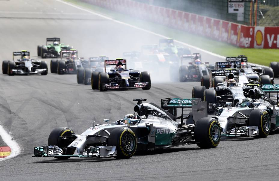 Lewis Hamilton durante o Grande Prémio da Bélgica de Fórmula 1, 12.ª prova do Campeonato do Mundo