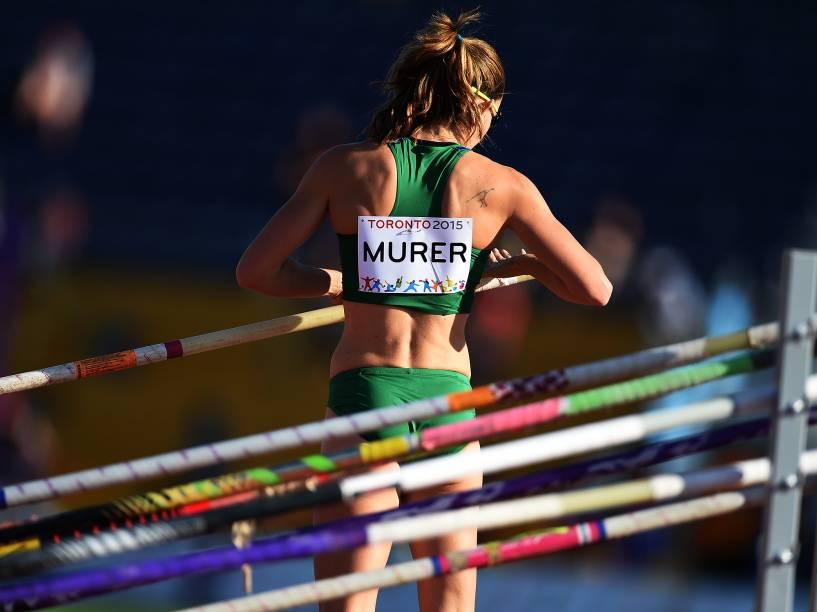 A atleta brasileira Fabiana Murer durante a competição de salto com vara nos Jogos Pan-Americanos 2015