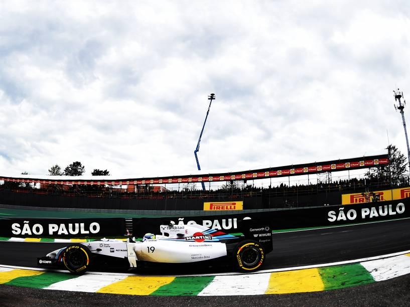 Felipe Massa da Williams durante treino classificatório para o Grande Prêmio do Brasil de Fórmula 1