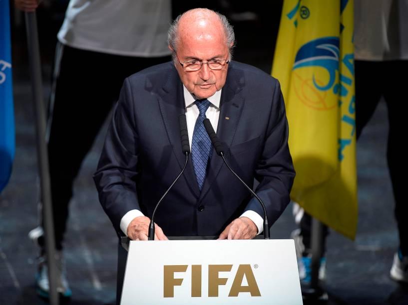 Joseph Blatter discursou na abertura do 65º congresso da Fifa, nesta quinta-feira (28), na sede da entidade, em Zurique