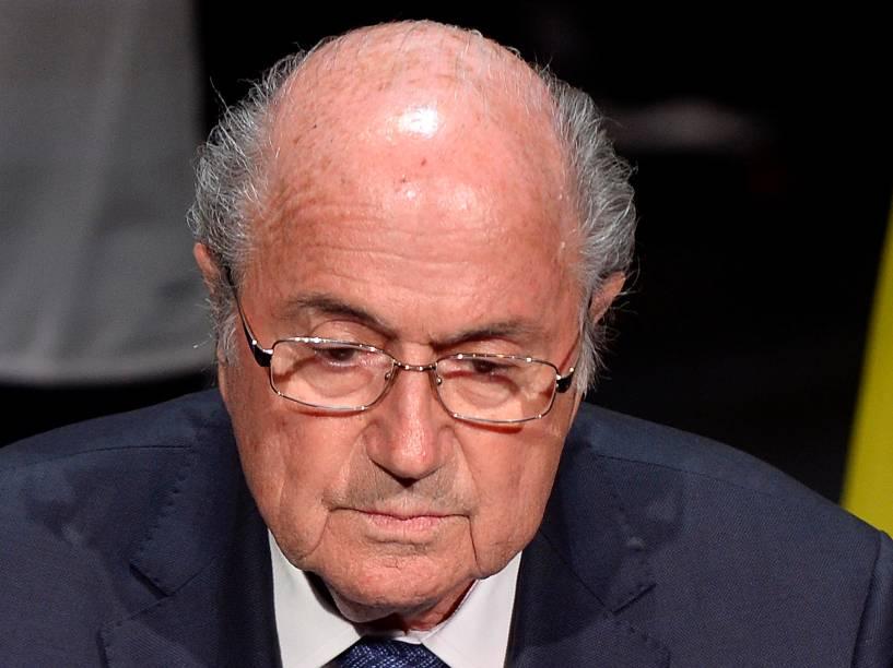 O presidente da Fifa, Sepp Blatter fala na abertura do 65º congresso da Fifa, nesta quinta-feira (28), na sede da entidade, em Zurique