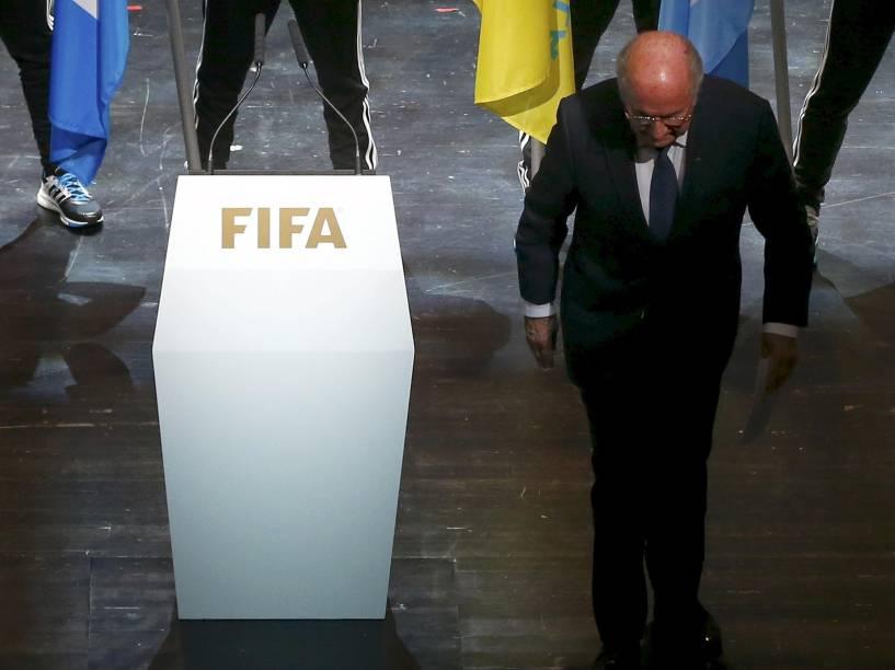 Joseph Blatter na abertura do 65º congresso da Fifa, nesta quinta-feira (28), na sede da entidade, em Zurique