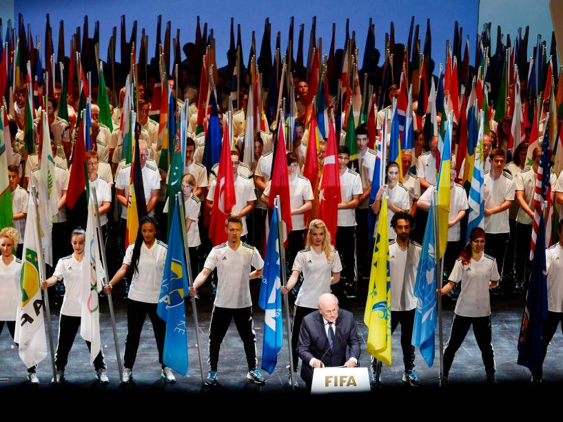 Presidente Joseph Blatter na abertura do 65º congresso da Fifa, nesta quinta-feira (28), na sede da entidade, em Zurique