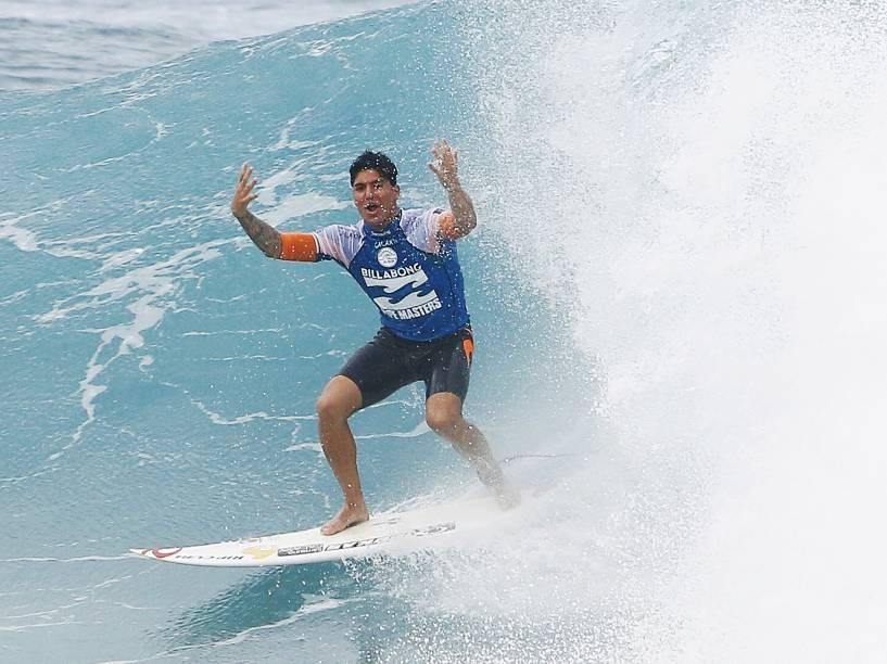 Gabriel Medina durante 3º round da competição do Billabong Pipe Masters, última etapa do Circuito Mundial de Surfe, nesta sexta-feira (19) na praia de Pipeline, em Honolulu, na ilha de Oahu no Havaí, Estados Unidos