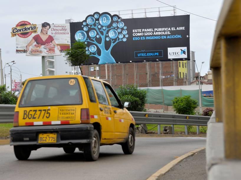 Purifying billboard in Peru