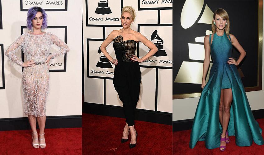 As cantoras Katy Perry, Gwen Stefani e Taylor Swift: os melhores figurinos do Grammy 2015