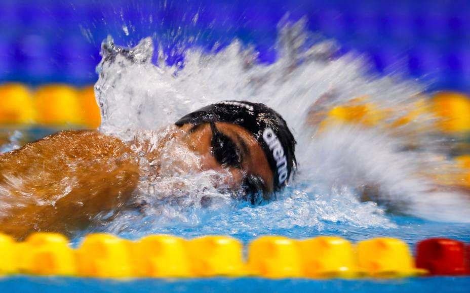 Gregorio Paltrinieri, da Itália, quebra recorde nos 1500m estilo livre durante o Campeonato Europeu de Natação, em Berlim