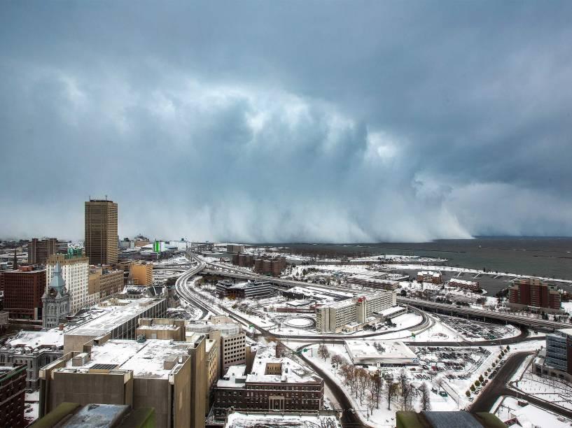 Nevasca em Buffalo, estado de Nova York, nos Estados Unidos