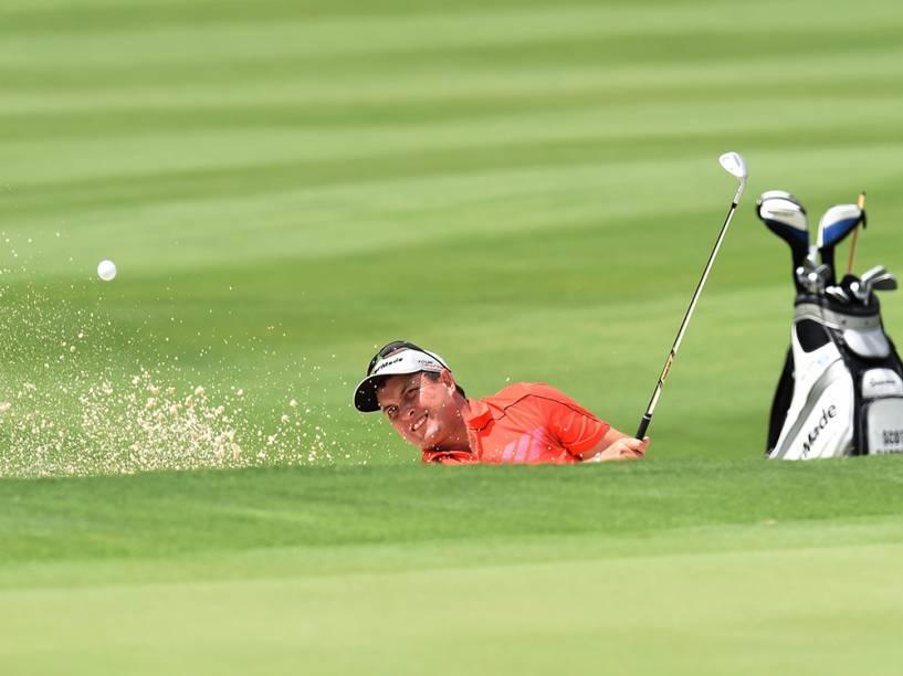 O australiano Scott Gardiner participa da segunda rodada do Aberto de Golfe da Austrália, no The Australian Golf Club, em Sydney