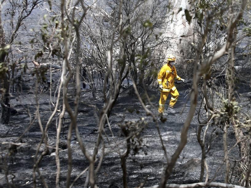 Bombeiro caminha por árvores queimadas em Vitória, na Austrália. O incêndio florestal começou devido aos raios que caem na região durante as tempestades