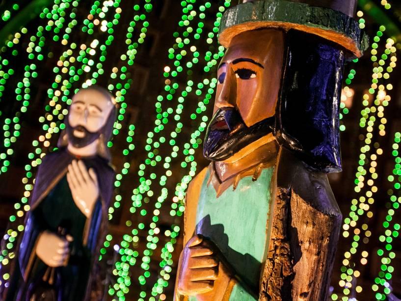 Noa Venezuela, detalhe de um presépio de madeira montado em Caracas em celebração ao Natal