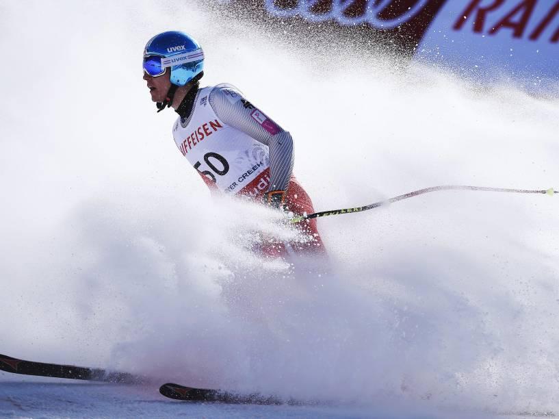 O polonês Maciej Bydlinski realiza treinamento de downhill para o Campeonato Mundial de Esqui Alpino em Beaver Creek, no Colorado, EUA - 06/02/2015