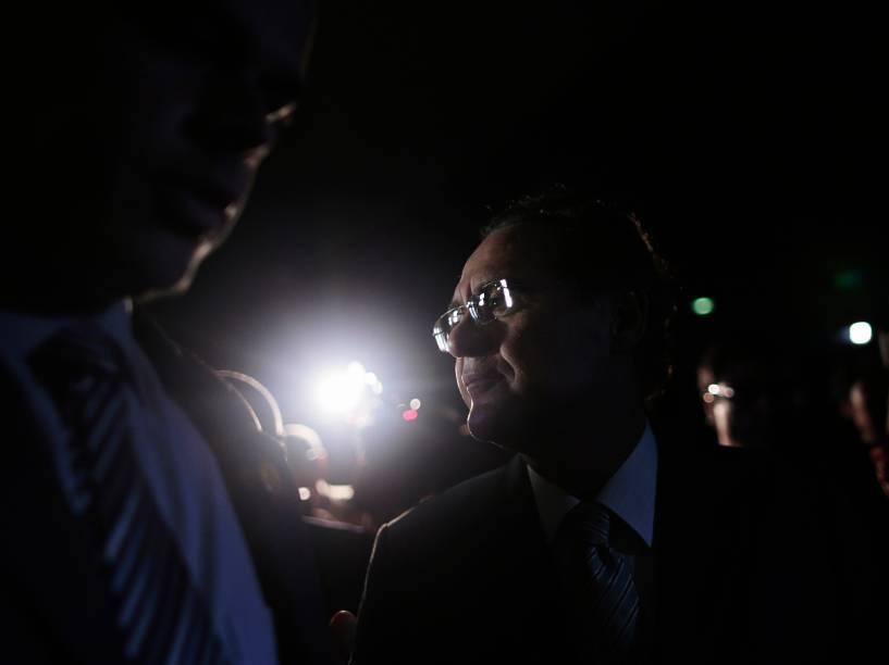 O senador Renan Calheiros visto na chegada ao Senado Federal em Brasília nesta quarta-feira - 04/03/2015