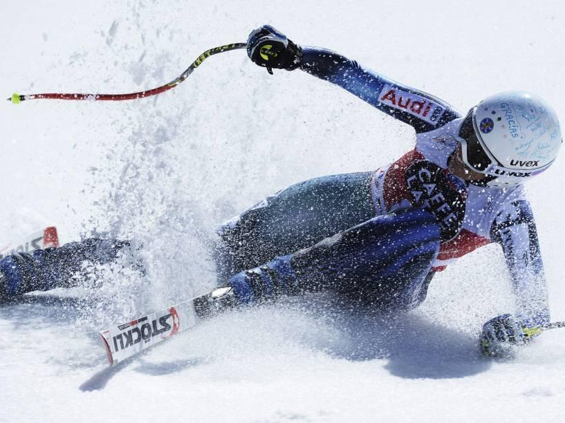 A esquiadora espanhola Carolina Ruiz Castillo durante a final da Copa do Mundo de Esqui Alpino em Meribel, na França - 18/03/2015