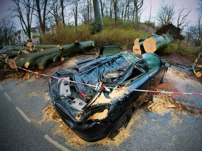 Carro foi destruído após ser atingido por uma árvore em Hamburgo, no norte da Alemanha. Pelo menos sete pessoas morrem no país durante a passagem do ciclone Niklas