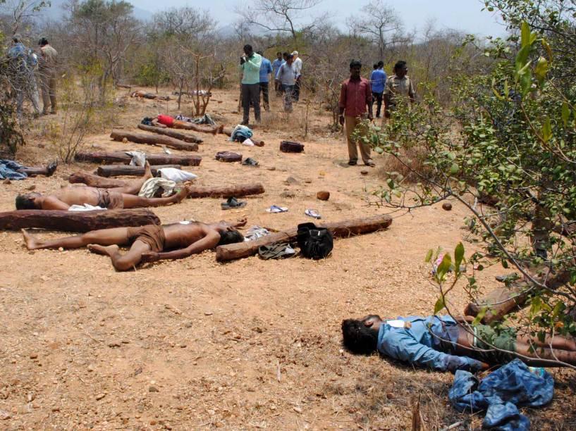 Corpos de suspeitos de tráfico de sândalo são vistos após confronto com policiais na floresta de Seshachalam, na Índia. Cerca de 20 pessoas morreram no conflito