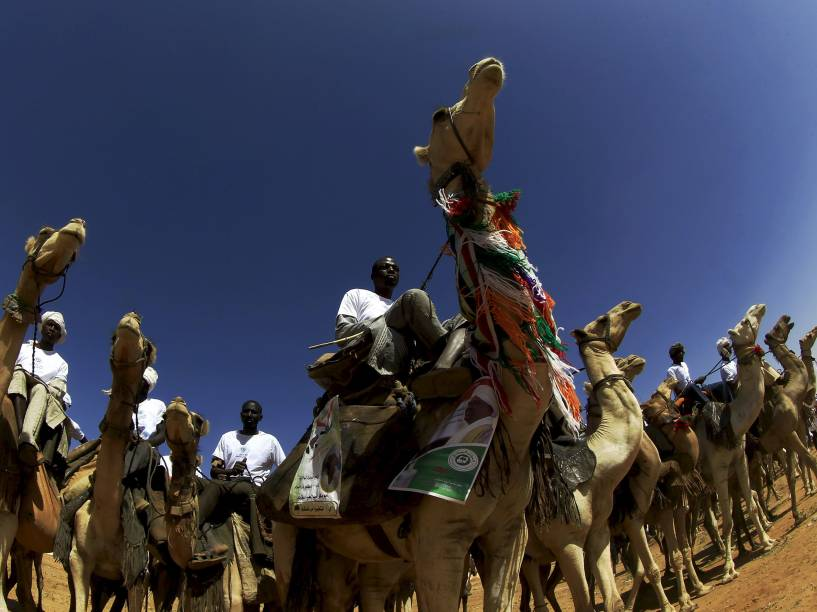 Apoiadores do Partido do Congresso Nacional (NCP, na sigla em inglês) e do candidato a presidência do Sudão, Omar Hassan al-Bashir, montam camelos durante campanha política para as eleições de 2015 - 08/04/2015