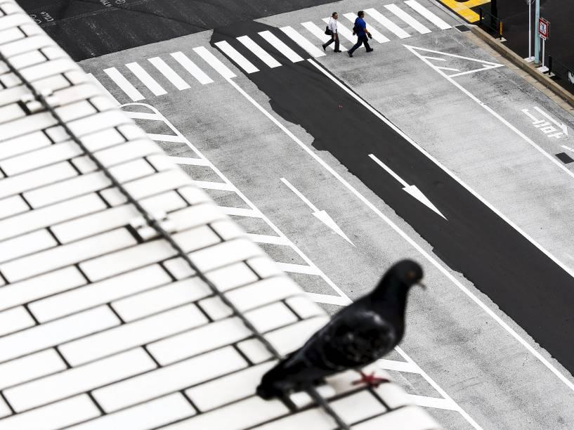 Pessoas atravessam a rua enquanto um pombo senta-se em um telhado no centro de Tóquio, Japão - 08/06/2015