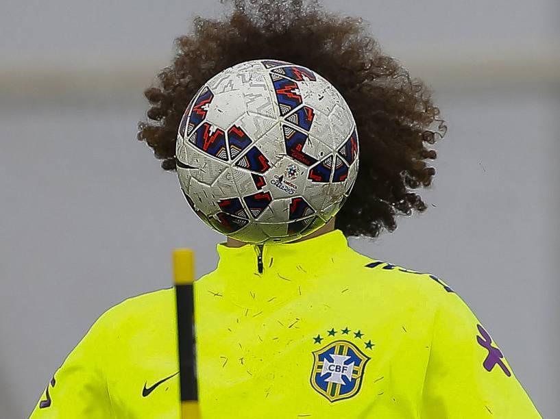 David Luiz durante treino de reconhecimento da seleção brasileira no CT da Universidad de Chile, em Santiago em preparação para a partida contra o Paraguai pelas quartas de final da Copa América - 23/06/2015