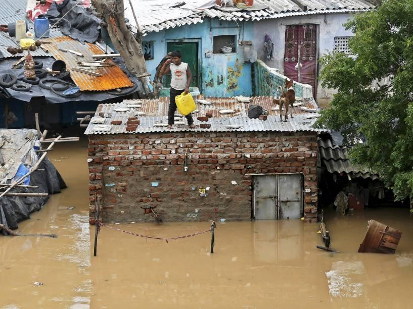 Após fortes chuvas na região, garoto e seu cachorro se refugiaram no teto de uma casa nas margens do rio Sabarmati, em Ahmedabad, Índia