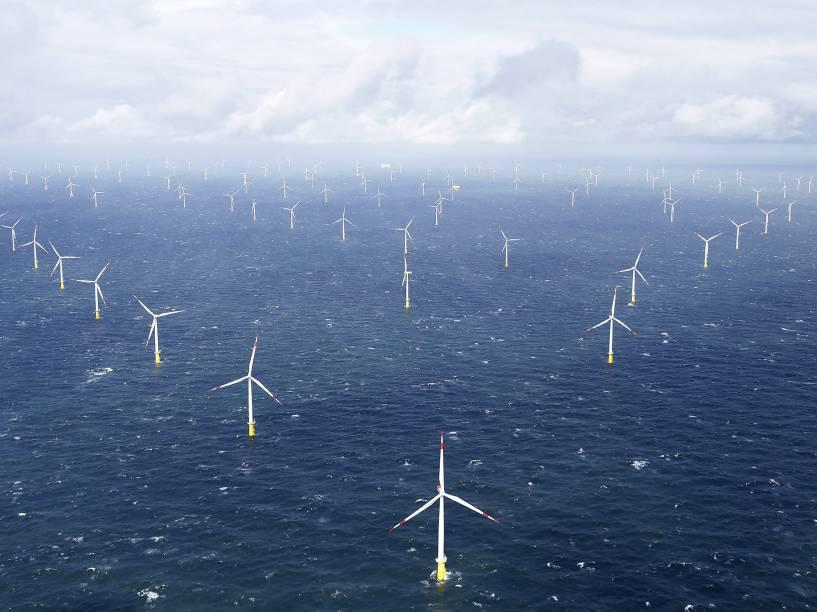 Turbinas de moinhos de vento são vistos no parque eólico Amrumbank West, na costa norte perto da ilha de Amrum, na Alemanha