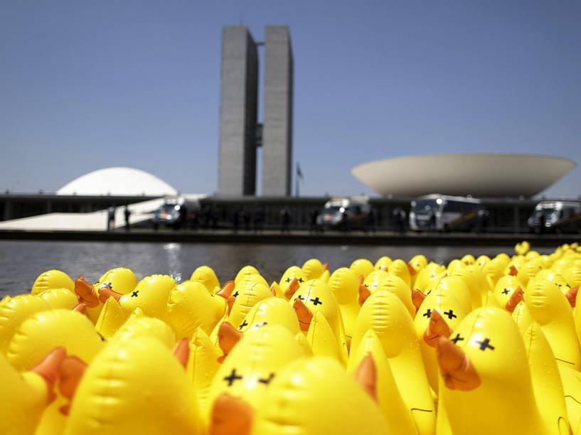 Patos infláveis fotografados durante manifestação contra a alta dos impostos que ocorreu em frente ao Congresso Nacional em Brasília