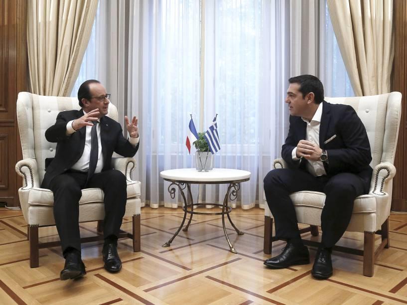 O primeiro-ministro grego, Alexis Tsipras, se reúne com o presidente francês, François Hollande, em Atenas (Grécia) 23/10/2015