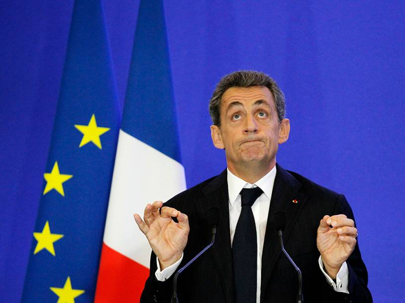 O ex-presidente francês, Nicolas Sarkozy, durante discurso na sede de seu partido