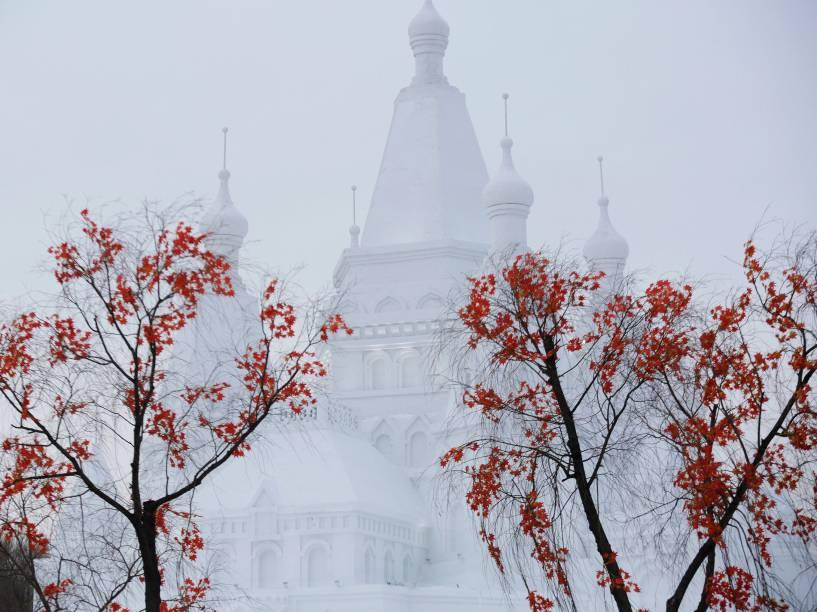 Enorme castelo esculpido no gelo é visto durante o Festival Internacional de Gelo e Neve de Harbin, na província chinesa de Heilongjiang - 05/01/2016