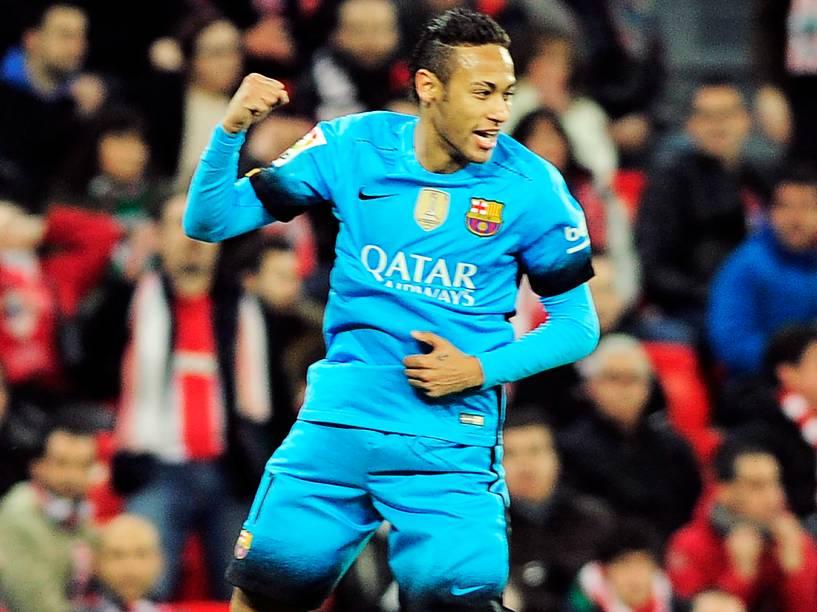 Neymar comemora o gol na partida contra o Athletic Bilbao, pelas quartas de final da Copa do Rei, nesta quarta-feira (20)