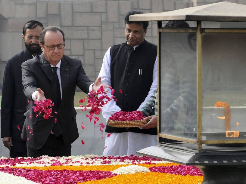 Presidente francês, François Hollande, em Nova Delhi durante uma visita de três dias à Índia