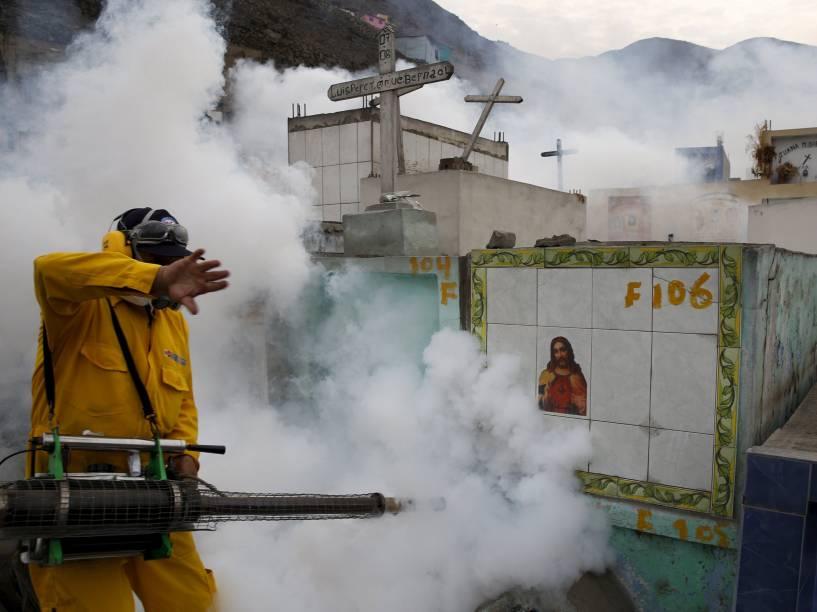 Profissional de saúde realiza a fumigação como parte de medidas preventivas contra o vírus Zika e outras doenças transmitidas por mosquitos no cemitério de Carabayllo, nos arredores de Lima, no Peru  - 01/02/2016