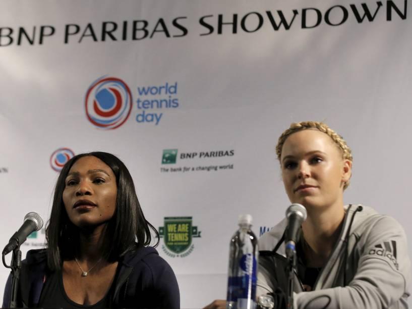 Serena Williams e Caroline Wozniacki falam sobre Maria Sharapova em conferência na cidade de Nova York, na manhã desta terça-feira (8). A tenista russa foi pega no exame anti-dopping essa semana e será suspensa provisoriamente