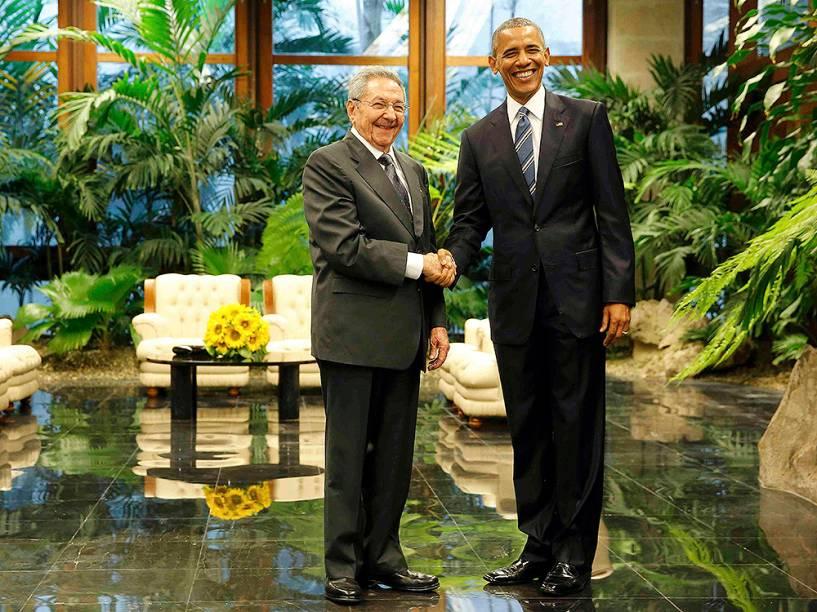 Obama durante encontro com Raúl Castro em Cuba