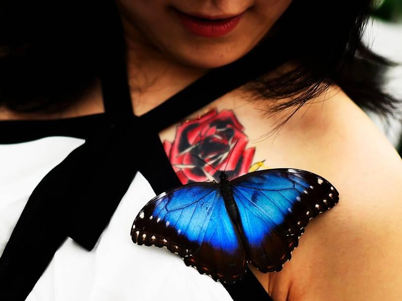 """Uma jornalista da TV japonesa, sorri enquanto uma borboleta Morpho posa em seu ombro durante a abertura de uma exposição no Museu de História Natural em Londres, na Inglaterra. O evento, chamado """"Sensational Butterflies"""" (borboletas sensacionais), é uma exposição temporária, comemorando a chegada da primavera no hemisfério norte"""