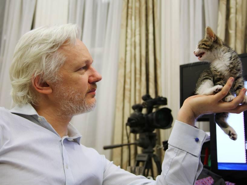 Fundador do WikiLeaks, Julian Assange segura um filhote de gato na Embaixada do Equador em Londres. O animal, segundo o WikiLeaks, é um presente de seus filhos para fazer companhia ao australiano - 09/05/2016