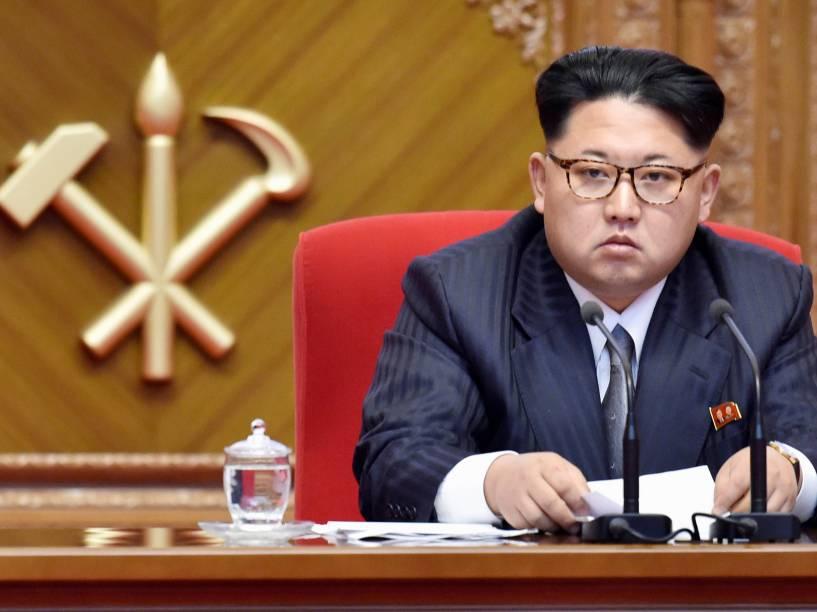 Ditador Kim Jong-un preside o primeiro Congresso do Partido dos Trabalhadores da Coreia do Norte, o primeiro realizado no país em 36 anos, em Pyongyang - 09/05/2016