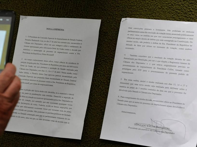 Nota à imprensa, assinada pelo presidente interino da Câmara Waldir Maranhão (PP-MA), fala sobre a anulação da sessão de votação do impeachment da presidente Dilma Rousseff na Câmara dos Deputados - 09/05/2016<br><br>