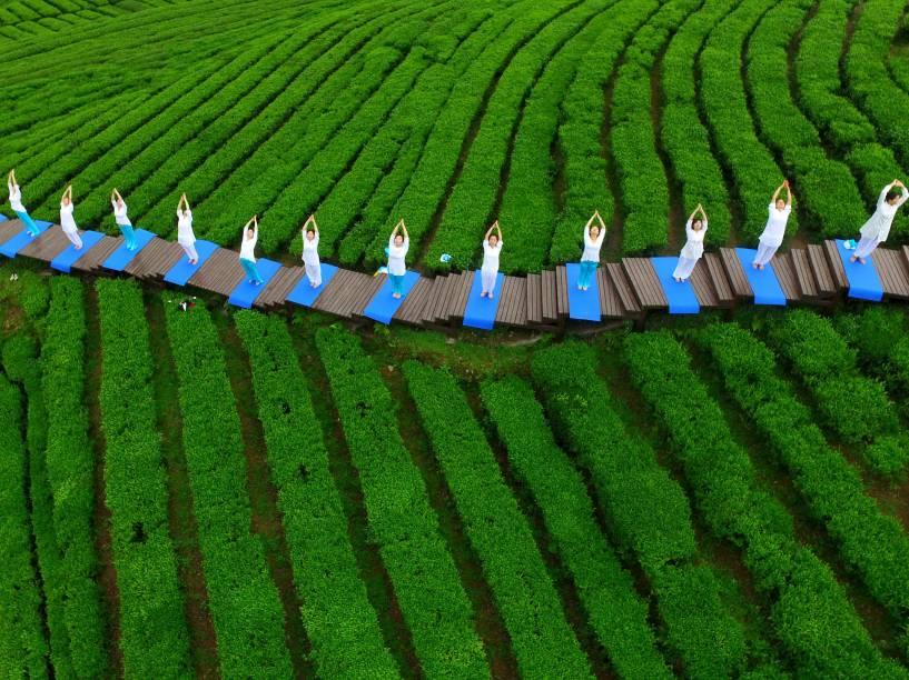 Pessoas praticam yoga em um parque de cultivo de chá, em Enshi, na província chinesa de Hubei
