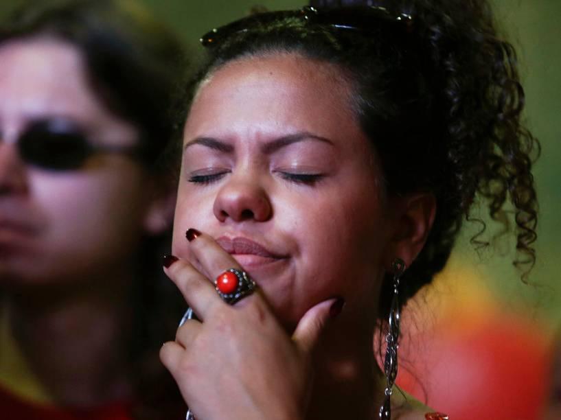 Manifestante durante a votação que dará ou não continuidade ao processo de Impeachment contra a presidente Dilma Rousseff, no Vale do Anhangabaú, centro da cidade de São Paulo - 17/04/2016