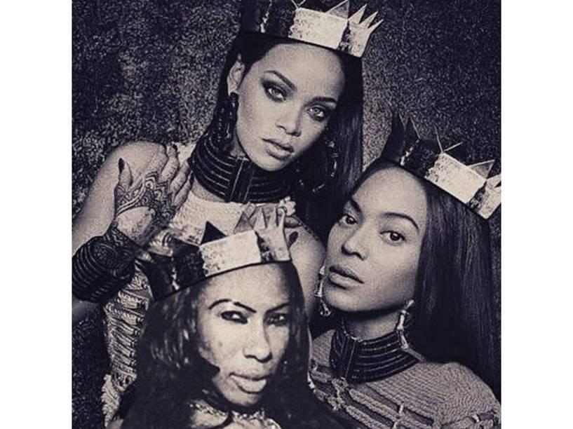 Inês Brasil em montagem com as cantoras Beyoncé e Rihanna