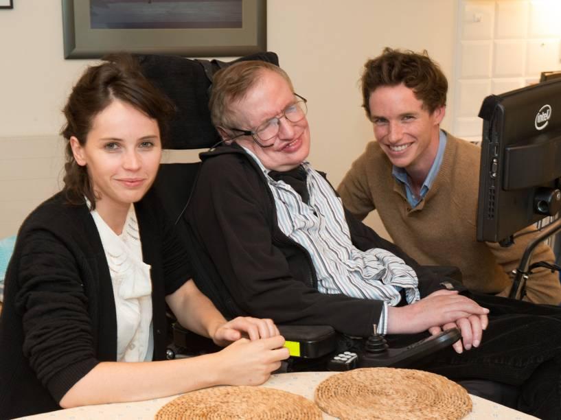Felicity Jones, Stephen Hawking e Eddie Redmayne