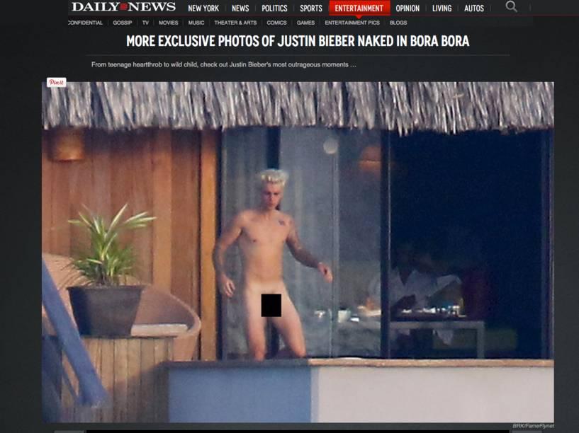 Imagem publicada no site nydailynews.com mostra Justin Bieber flagrado nu em Bora Bora, na Polinésia Francesa