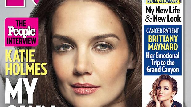 Detalhe da capa da revista People em que Katie Holmes diz ter vida mais leve após casamento com Tom Cruise