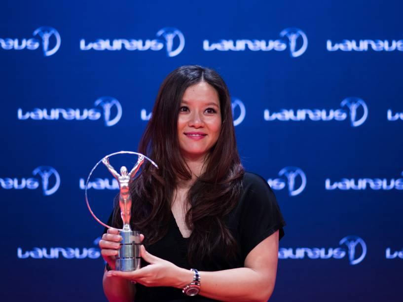 A ex-tenista chinesa Li Na é premiada com um Laureus na categoria feminina