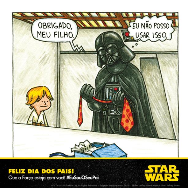 Charge divulgada pela Lucasfilm para promover Star Wars no Dia dos Pais