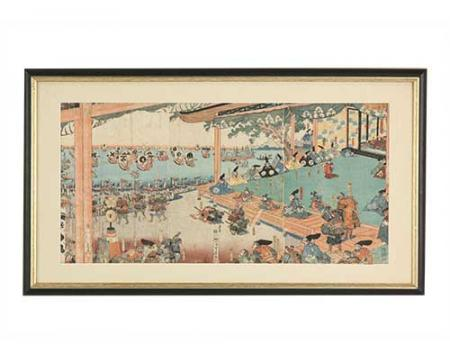 No escritório de Bert Cooper podíamos ver pendurado na parede este desenho em papel, a imagem mostra uma casa japonesa com as pessoas se preparando para a guerra