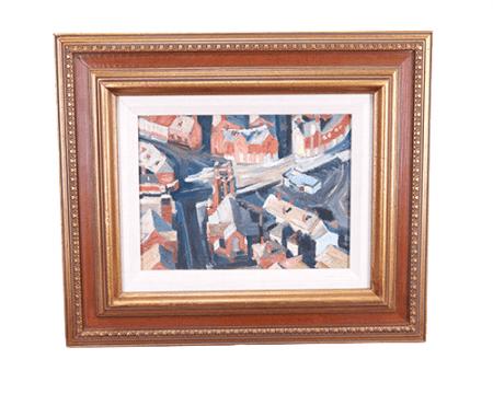 O quadro de pintura abstrata em moldura de madeira que ficava na entrada do apartamento de Don Draper será leiloado junto com outros itens da série 'Mad Men'