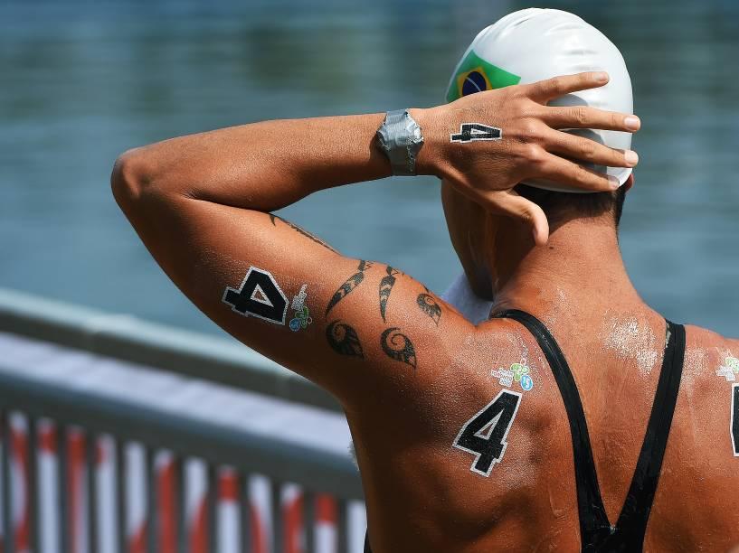Luiz Rogerio Arapiraca, durante os 10 km da maratona aquática masculina em Toronto